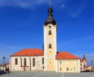Kerk van St. Nicholas in Stad Dobrany. Royalty-vrije Stock Afbeelding
