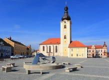 Kerk van St. Nicholas in Stad Dobrany. Royalty-vrije Stock Foto's