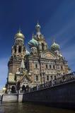 Kerk van Verrijzenis op bloed St. Petersburg Stock Foto