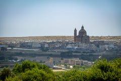 Kerk van Xewkija ook als Rotonde wordt bekend - Gozo, Malta dat royalty-vrije stock afbeeldingen