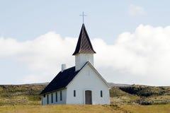 Kerk in verlaten landschap in IJsland Royalty-vrije Stock Afbeeldingen
