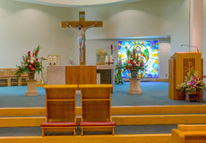 Kerk voor een Huwelijk wordt verfraaid dat Stock Foto