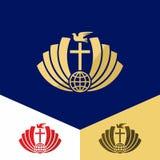 Kerkembleem Christelijke symbolen Het kruis van Jesus Christ en de duif van de Heilige Geest, bol royalty-vrije illustratie