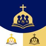 Kerkembleem Christelijke symbolen Het verzamelen zich van de heiligen in naam van Lord Jesus Christ, de Heilige Geest brandende v stock illustratie