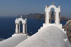 Kerken in Oia. Stock Foto