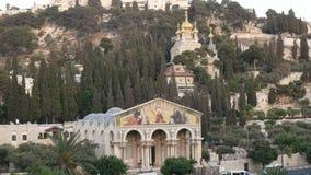 Kerken van Mary Magdalene en alle naties in Jeruzalem stock footage