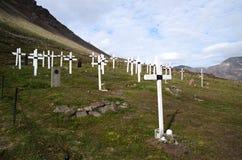 Kerkhof in Longyearbyen op Svalbard stock foto