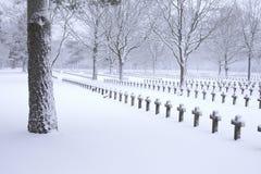 Kerkhof in sneeuw Royalty-vrije Stock Afbeeldingen