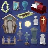 Kerkhof vector enge begraafplaats en Halloween-verschrikking in de reeks van de nachtillustratie van griezelig graf of graf en gr stock illustratie