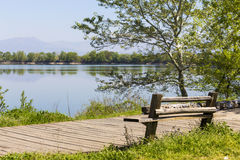 Kerkini lake and mountain eco-area at north Greece by Struma riv Stock Images