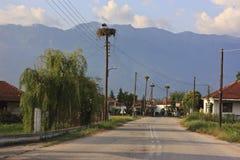 Kerkini Village And Stork Nesting Royalty Free Stock Images