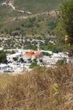 Kerkkirk van de de zomeraard van Rhodos Griekenland historische de gebouwenarchitectuur Stock Foto