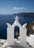 Kerkklok in Ia, Santorini, Griekenland Stock Afbeelding