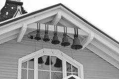 Kerkklokken op sneeuw Royalty-vrije Stock Foto