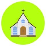 Kerkpictogram in in vlakke die stijl op grijze achtergrond wordt geïsoleerd De bouw van symbool voor uw ontwerp, embleem, UI Vect Stock Afbeelding