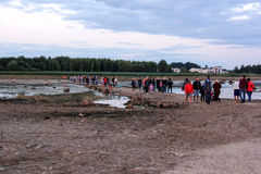 Kerkruïnes op het St Meinard eiland Letland ikskile op rivier Daugava Foto in 26 augustus, 2017 wordt genomen die Royalty-vrije Stock Foto's