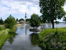Kerktoren in het Kartuizer klooster van Mariefred in Zweden Stock Afbeelding