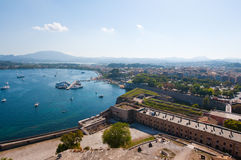 Kerkyra city from the Old Fortress. Corfu island, Greece. Stock Photo
