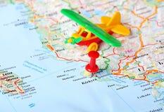 Kerkyra ,Greece map airplane flight. Close up of Kerkyra Greece map , red pin and airplane toy - Travel concept stock photos