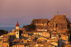 Kerkyra Town in Corfu at sunset Stock Photo