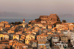 Kerkyra Town in Corfu at sunset Royalty Free Stock Photos