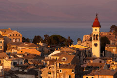 Kerkyra Town in Corfu at sunset. Photo taken in Greece Royalty Free Stock Images