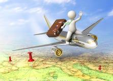Kerl 3d, der mit dem Flugzeug reist Lizenzfreies Stockfoto