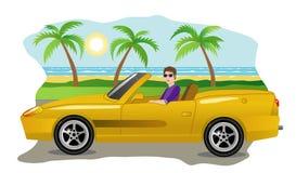 Kerl auf einem Luxusauto Stockbild