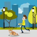 Kerl auf einem Weg mit einem Hund Stockbilder
