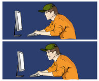 Kerl, der an Computer arbeitet Stockbilder