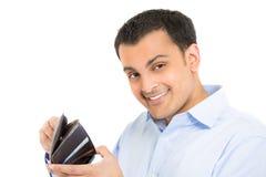Kerl, der durch Geldbörse glücklich und geschaut worden sein würden Stockfotografie