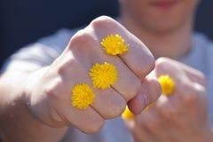 Kerl, der einen Durchschlag mit gelben Blumen gibt Lizenzfreies Stockfoto
