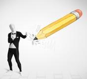 Kerl in der Körpermaske mit einem große Handgezeichneten Bleistift Stockfotografie