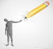 Kerl in der Körpermaske mit einem große Handgezeichneten Bleistift Lizenzfreies Stockbild
