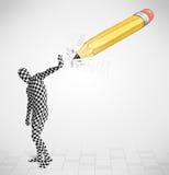 Kerl in der Körpermaske mit einem große Handgezeichneten Bleistift Stockfoto