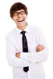 Kerl, der mit Gelächter johlt Stockfotos