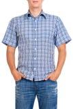 Kerl in einem checkered Hemd, getrennt auf Weiß Stockfotografie
