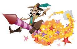 Kerl Fawkes Flugwesen auf einer Feuerwerkrakete. Stockfotografie