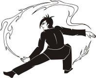 Kerl jongliert mit Feuer Lizenzfreie Stockfotos