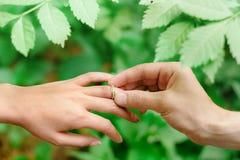 Kerl setzte Verlobungsring mit natürlichem Hintergrund lizenzfreie stockfotos