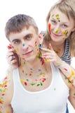 Kerl und seine Freundin gemalt mit Farben Stockfoto