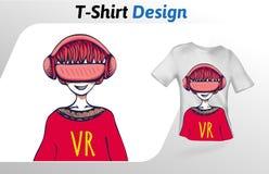 Kerl in VR-Kopfhörer, der eine gute Zeit, T-Shirt Druck hat Spott herauf T-Shirt Designschablone Vektorschablone, lokalisiert auf Stockfotos