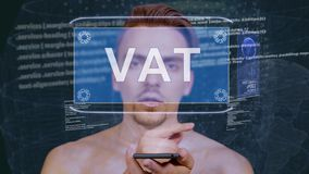 Kerl wirkt HUD-Hologramm Mehrwertsteuer aufeinander ein stock video footage
