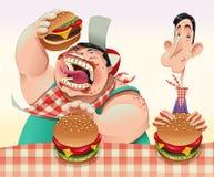 Kerle mit Hamburgern. Stockfotos