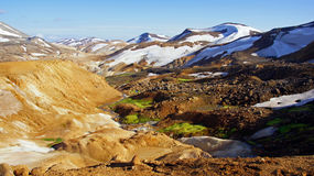 Kerlingarfjöll landscape picture. Kerlingafjöll : A landscape as in a fairy tale on a sunny day with beatifull white, green, brown (from the rhyoliet royalty free stock photography
