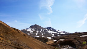 Kerlingarfjöll brown mountain. Kerlingarfjöll panorama picture of brown coloured mountains green mos in summer in Iceland royalty free stock photos