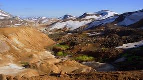 Kerlingarfjöll chocolate mountain panorama. Kerlingarfjöll panorama of chocolate coloured mountains in summer in Iceland royalty free stock photos