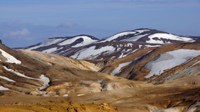 Kerlingarfjöll chocolate mountain. Kerlingarfjöll panorama picture of chocolate coloured mountains in summer in Iceland royalty free stock photos