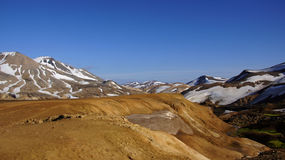Kerlingarfjöll chocolate mountains. Kerlingarfjöll panorama picture of chocolate coloured mountains in summer in Iceland stock image