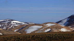 Kerlingarfjöll chocolate mountain. Kerlingarfjöll panorama picture of chocolate coloured mountains in summer in Iceland stock images